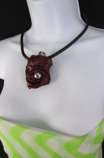 Other Kim G Women Black Rope Silver Metal Fashion Necklace Burgundy Red Pendant