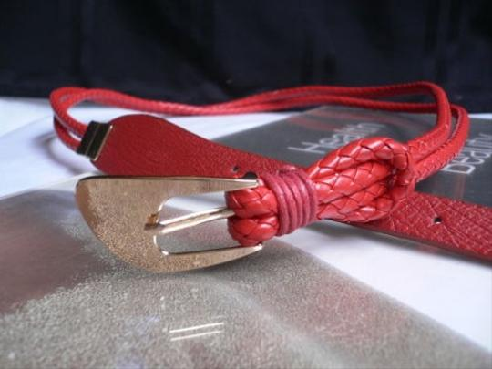 Other Women Narrow Red Fashion Spring Classic Braided Belt Gold Buckle