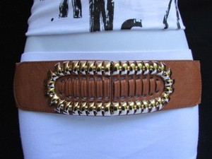 Women Elastic Hip Waist Brown Fashion Belt Gold Metal Buckle 28-38 S-m-l