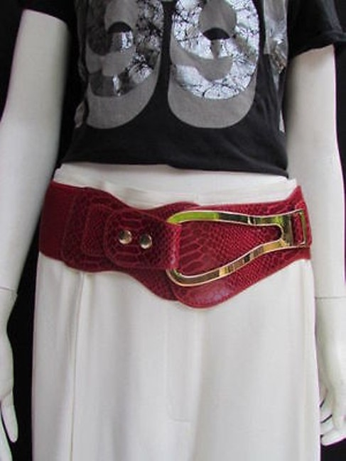 Alwaystyle4you Red Women Wide Elastic Faux Leather Band Western Gold Horse Belt Alwaystyle4you Red Women Wide Elastic Faux Leather Band Western Gold Horse Belt Image 1