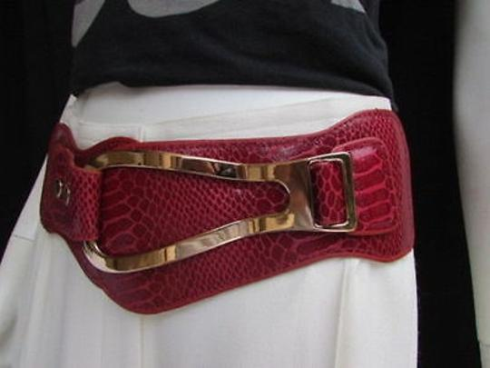 Other Women Red Belt Wide Elastic Faux Leather Band Western Gold Horse