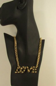 Other Women Fashion Necklace Gold Metal Chains Love Pendant Black Rhinestone 16