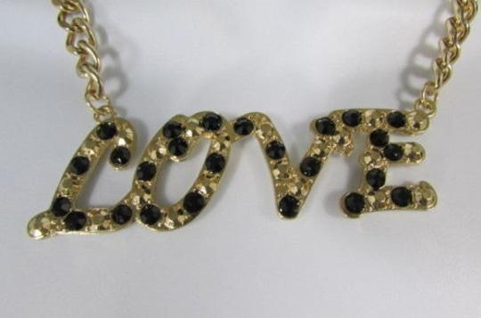 Other Women Necklace Gold Metal Chains Love charm Black Rhinestone 16