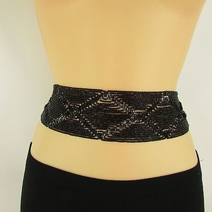 Other Women Moroccan Black Beads Tie Belt Waist Hip Plus Size