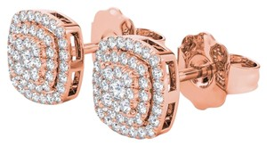 Elizabeth Jewelry 10Kt Rose Gold 0.35 Ct Diamond Halo Stud Earrings