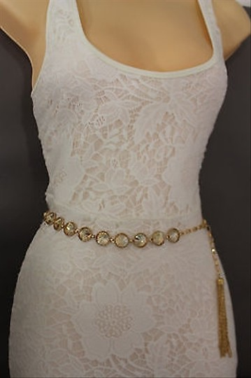 Other Women Hip Waist Gold Big Crystals Thin Metal Chains Fashion Belt