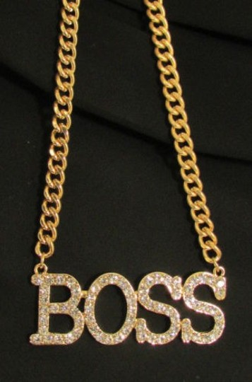 Other Women Fashion Necklace Big Gold Metal Boss Pendant Silver Rhinestones Chain