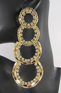 Other Women Chunky Gold Mesh Metal Chains Long Hoops Fashion Earrings Rhinestone