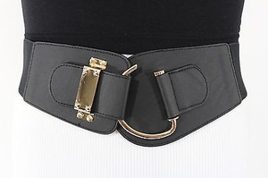 Women Elastic Black Wide Trendy Fashion Belt Gold Metal Buckle 28-34