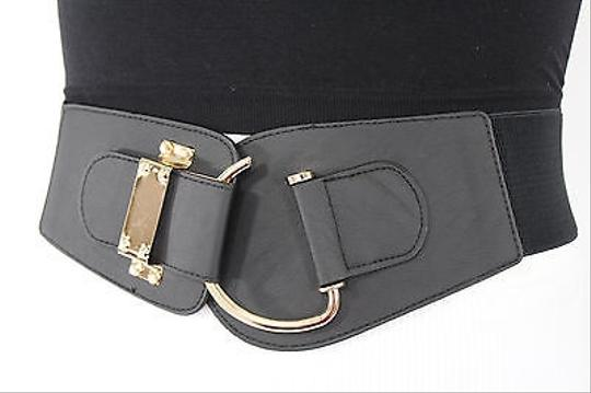Other Women Elastic Black Wide Trendy Fashion Belt Gold Metal Buckle 28-34