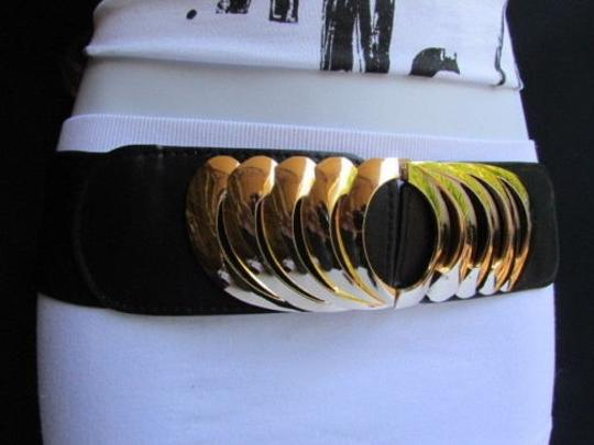 Other Women Elastic Black Casual Fashion Belt Wing Gold Metal Buckle 28-35