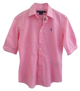 Ralph Lauren Button Down Shirt Pink White