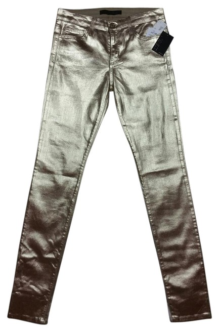 Item - Metallic Gold Coated Skinny Jeans Size 27 (4, S)