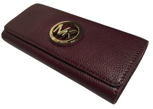 Michael Kors Michael Kors Fulton Flap Merlot Leather Clutch Wallet