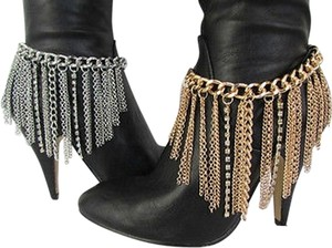 Other Women Fashion Metal Heel Shoe Boot Chain Gold Silver Fringes Rhinestones