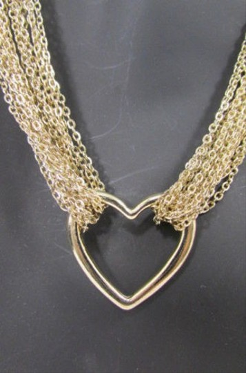 Other Women Fashion Trendy Necklace Multi Gold Metal Chains Heart Love