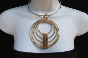 Women Contemporary Fashion Necklace Circles Gold Silver Metal Retro Style