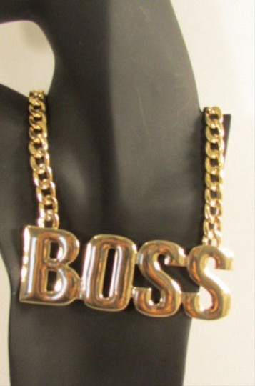 Other Women Fashion Trendy Necklace Big Boss Gold Pendant Thick Metal Chain 16