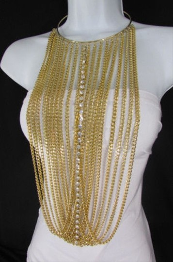 Other Women Gold Metal Choker Long Chains Statement Necklace Hot Rhinestones