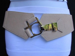 Women Elastic Beige Wide Fashion Belt Silver Metal Hole Buckle 29-34 Sm