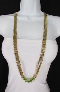 Other Women Gold Metal Links Chains Long Strand Big Green Beads Fashion Necklace