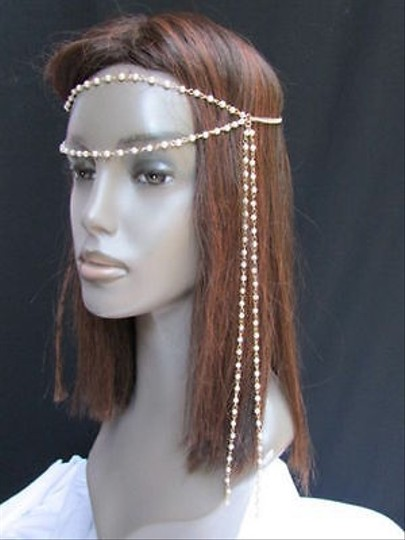Other Women Gold Head Chain Fashion Jewelry Long Back Front Fringes Pearl Beads