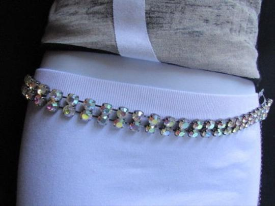Other Women Rows Big Rhinestones Thin 0.5 Metal Fashion Belt 26-38 Xs-l