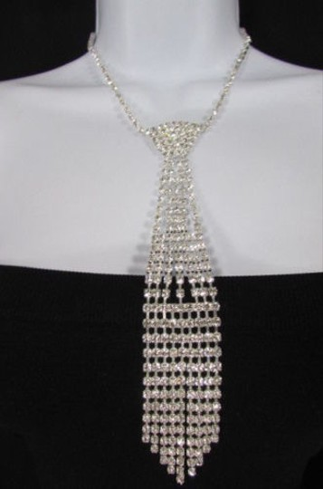 Other Women Fashion Necklace Silver Metal Chains Neck Tie Pendant Rhinestones 14
