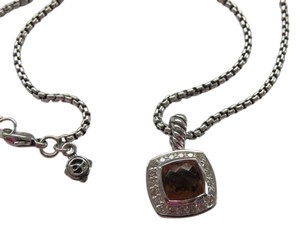 "David Yurman Petite Albion Citrine/Pave' Diamond Necklace; 18"" 1.7mm Baby Box Chain"