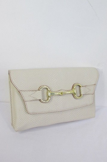 Banana Republic Women Fashion Purse Faux Leather Off White Cream Clutch