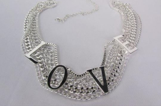 Other Women Silver Metal Chains Strands Links Fashion Belt Love
