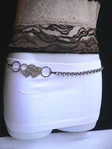 Other Women Fashion Belt Big Rhinestones Heart Thin Metal Pewter