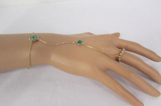 Other Women Gold Metal Flower Hand Chains Slave Ring Bracelet Blue Bead