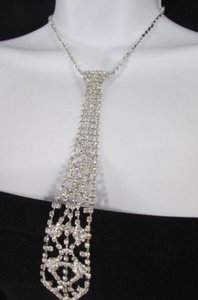 Other Women Fashion Necklace Silver Metal Chain Long Tie Pendant White Rhinestones