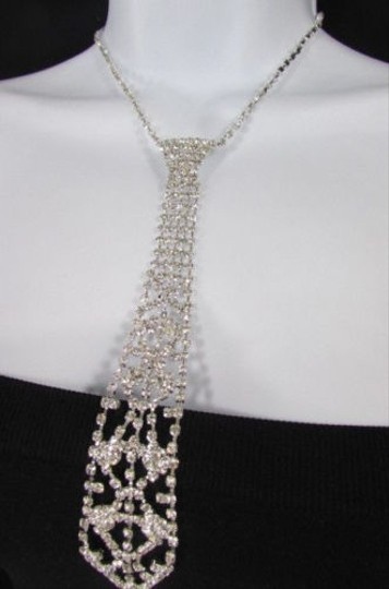 Other Women Fashion Necklace Silver Metal Chain Long White Rhinestones