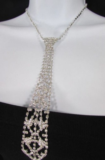 Alwaystyle4you Silver Women Fashion Metal Chain Long White Rhinestones Necklace Alwaystyle4you Silver Women Fashion Metal Chain Long White Rhinestones Necklace Image 1