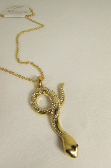 Other Women Necklace Gold Metal Chain Snake Pendant