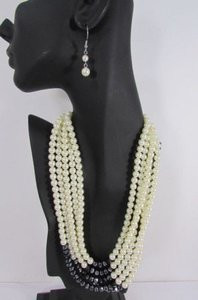 Other Women Strands Fashion Necklace Imitation Pearl Beads 18 Long Earring Set