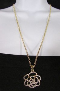 Other Women Fashion Necklace Gold Metal Chain Flower Pendant Silver Rhinestone 22