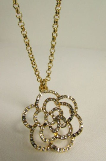 Other Women Necklace Gold Metal Chain Flower Silver Rhinestone 22