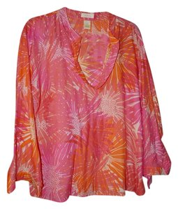Sigrid Olsen 3/4 Sleeves Silk Blend Cotton Blend Print Tropical Tunic