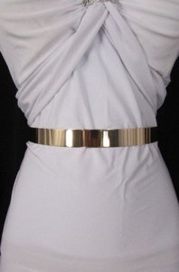 Women Low Hip High Waist Narrow Gold Metal Plate Fashion Belt 27-36