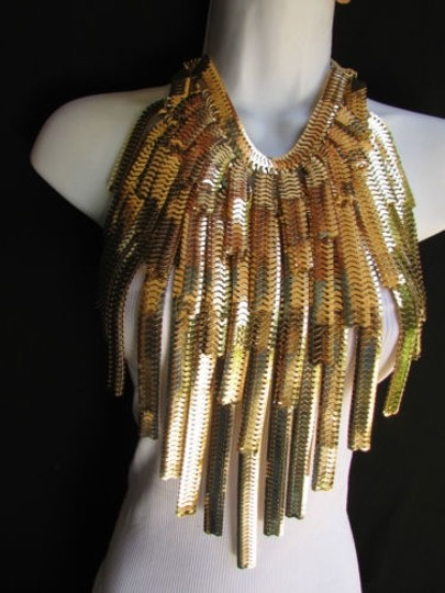 Other Women Wide Strand Gold Links Chains Metal Necklace
