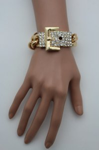 Women Shinny Gold Metal Chains Fashion Jewelry Bracelet Rhinestones Buckle Beads