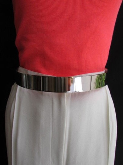 Other Women High Waist 1.25 Thick Pewter Metal Plate Fashion Belt 25-35