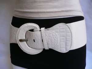 Women Hip High Waist Elastic White Wide Fashion Belt Plus 32-45