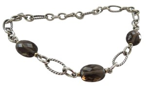 David Yurman SS/Yellow Gold Bijoux Smokey Quartz Necklace; 17.5