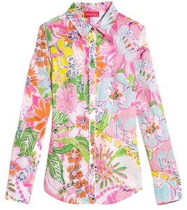 Lilly Pulitzer for Target Button Down Shirt Pink, green, yellow, blue, orange