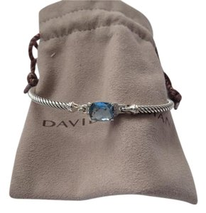 David Yurman Petitie Wheaton Blue Topaz and Diamond Bracelet 3mm, Medium