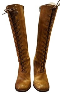 Steve Madden Leather Lace Up Heel Zipper Tan Boots